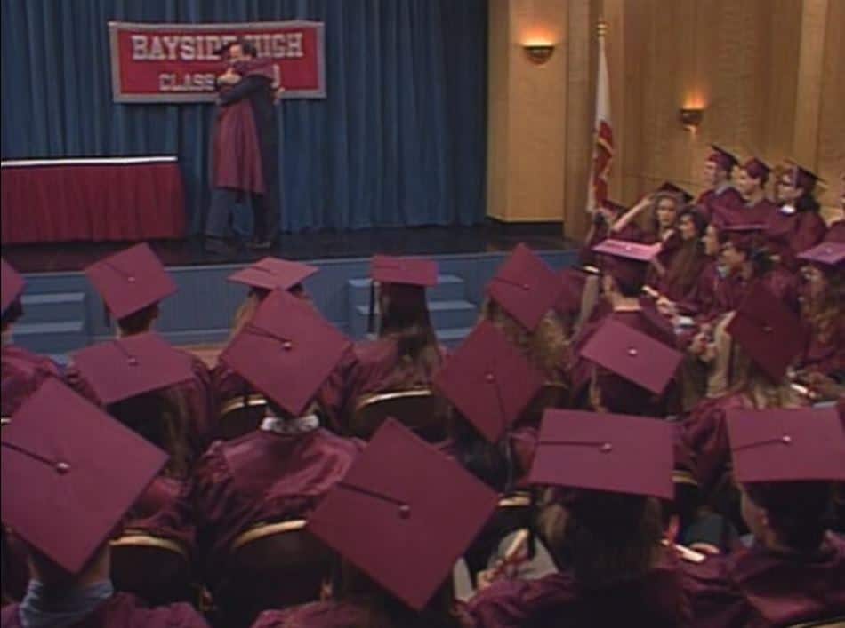 The students of Bayside High graduate in Saved by the Bell Graduation Episode
